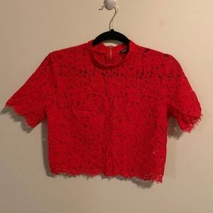 Express Red Lace Crop Top